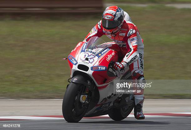 Andrea Dovizioso of Italy and Ducati Team heads down a straight during the MotoGP Tests in Sepang Day One at Sepang Circuit on February 23 2015 in...