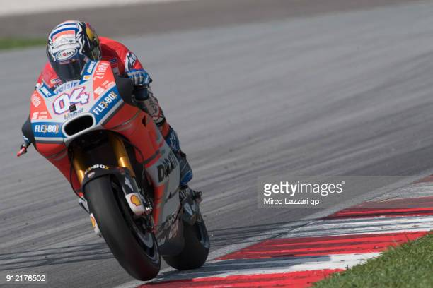 Andrea Dovizioso of Italy and Ducati Team heads down a straight during the MotoGP test in Sepang at Sepang Circuit on January 30 2018 in Kuala Lumpur...