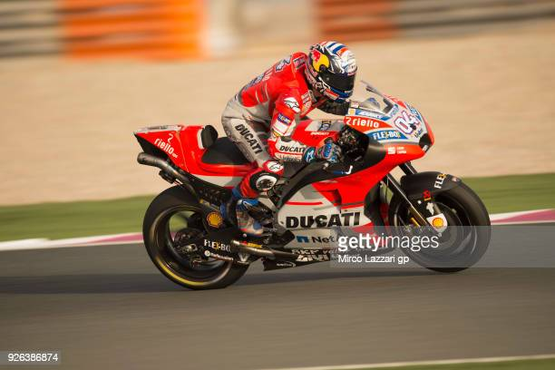 Andrea Dovizioso of Italy and Ducati Team heads down a straight during the Moto GP Testing Qatar at Losail Circuit on March 2 2018 in Doha Qatar