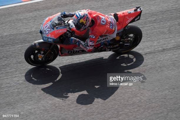 Andrea Dovizioso of Italy and Ducati Team heads down a straight during the MotoGp of Argentina Free Practice on April 6 2018 in Rio Hondo Argentina