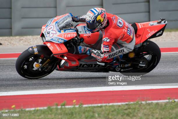 Andrea Dovizioso of Italy and Ducati Team heads down a straight during the MotoGP race during the MotoGp Red Bull US Grand Prix of The Americas Race...