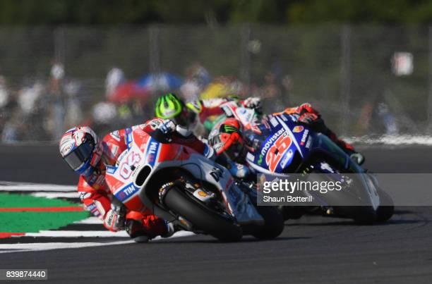 Andrea Dovizioso of Italy and Ducati Team in action during the MotoGP of Great Britain at Silverstone Circuit on August 27 2017 in Northampton England