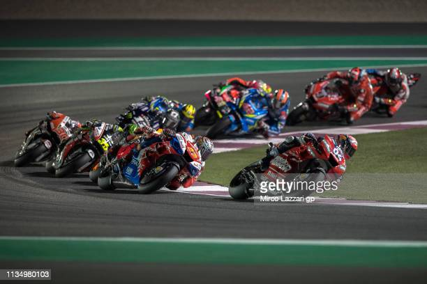 Andrea Dovizioso of Italy and Ducati Team leads the field during the MotoGP race during the MotoGP of Qatar Race at Losail Circuit on March 10 2019...