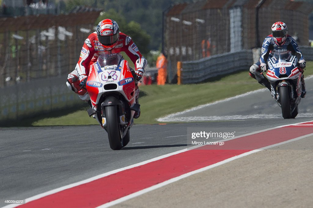 Andrea Dovizioso of Italy and Ducati Team leads the field during the MotoGp of Germany - Qualifying at Sachsenring Circuit on July 11, 2015 in Hohenstein-Ernstthal, Germany.