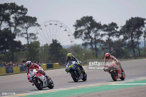 Andrea Dovizioso of Italy and Ducati Team leads the field during the MotoGP race during the MotoGp of France Race at on May 8 2016 in Le Mans France