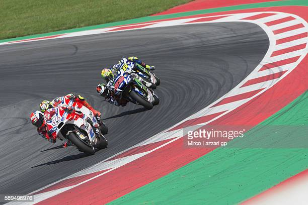 Andrea Dovizioso of Italy and Ducati Team leads the field during the MotoGP race during the MotoGp of Austria Race at Red Bull Ring on August 14 2016...