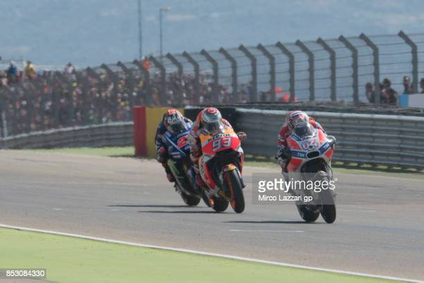 Andrea Dovizioso of Italy and Ducati Team leads the field during the MotoGP race during the MotoGP of Aragon Race at Motorland Aragon Circuit on...