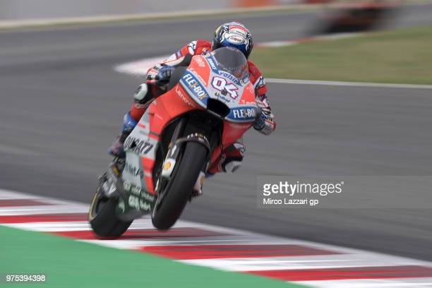 Andrea Dovizioso of Italy and Ducati Team lifts the front wheel during the MotoGp of Catalunya Free Practice at Circuit de Catalunya on June 15 2018...
