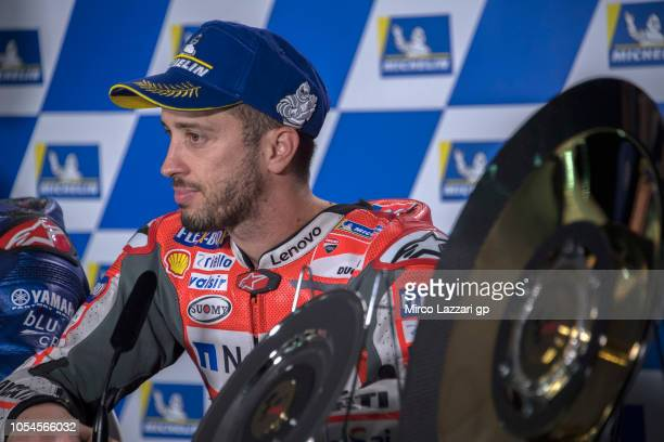 Andrea Dovizioso of Italy and Ducati Team looks on during the press conference at the end of the MotoGP race during the MotoGP of Australia Race...