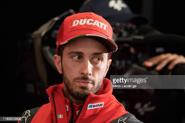Andrea Dovizioso of Italy and Ducati Team looks on during the press conference at the end of the MotoGP of Australia Qualifying for the 2019 MotoGP...