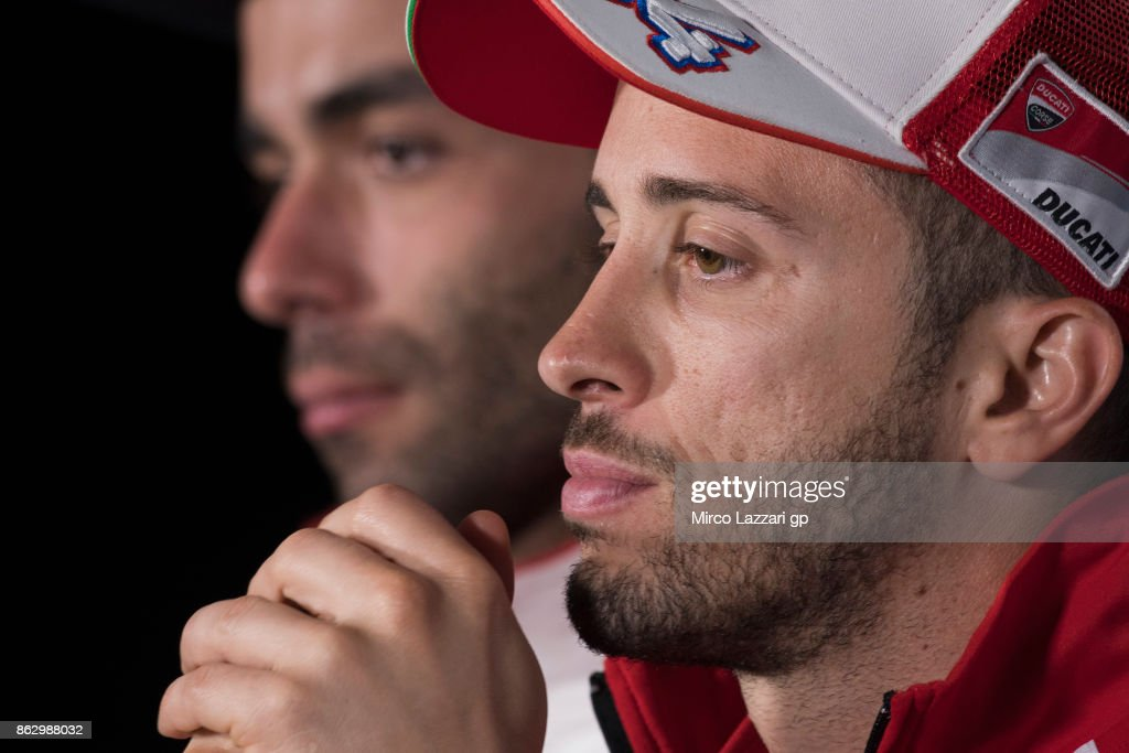 Andrea Dovizioso of Italy and Ducati Team looks on during the press conference during previews ahead of the 2017 MotoGP of Australia at Phillip Island Grand Prix Circuit on October 19, 2017 in Phillip Island, Australia.