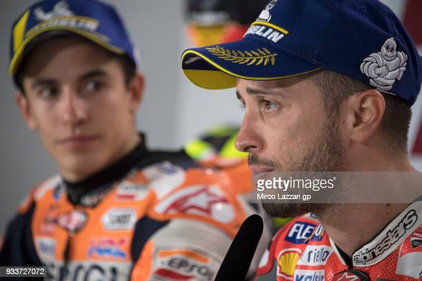 Andrea Dovizioso of Italy and Ducati Team looks on during the press conference at the end of the MotoGP race during the MotoGP of Qatar Race at...