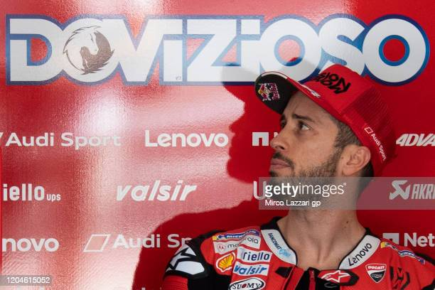 Andrea Dovizioso of Italy and Ducati Team looks on in box during the MotoGP PreSeason Tests at Sepang Circuit on February 07 2020 in Kuala Lumpur...