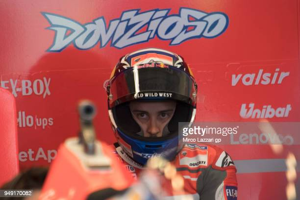 Andrea Dovizioso of Italy and Ducati Team looks on in box during the MotoGp Red Bull US Grand Prix of The Americas Free Practice at Circuit of The...