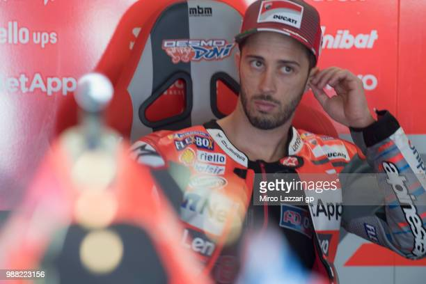 Andrea Dovizioso of Italy and Ducati Team looks on in box during the Qualifying practice during the MotoGP Netherlands Qualifying on June 30 2018 in...