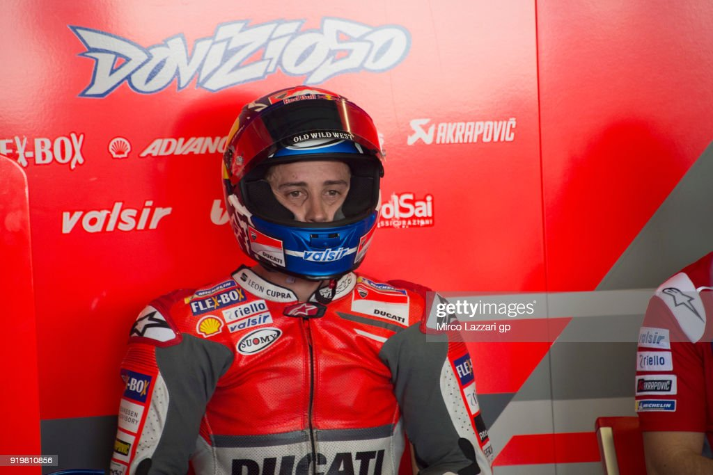 Andrea Dovizioso of Italy and Ducati Team prepares to start in box during the MotoGP Tests In Thailand on February 18, 2018 in Buri Ram, Thailand.