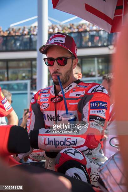 Andrea Dovizioso of Italy and Ducati Team prepares to start on the grid during the MotoGP race during the MotoGP of San Marino Race at Misano World...