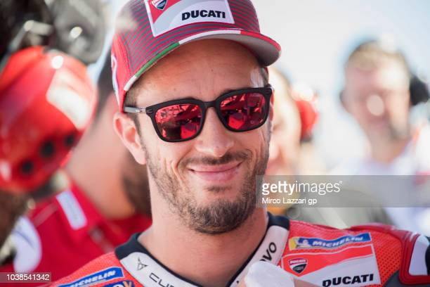 Andrea Dovizioso of Italy and Ducati Team prepares to start on the grid during the MotoGP race during the MotoGP of Aragon Race at Motorland Aragon...