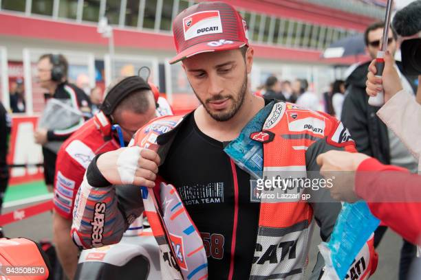 Andrea Dovizioso of Italy and Ducati Team prepares to start on the grid during the MotoGP race during the MotoGp of Argentina Race on April 8 2018 in...