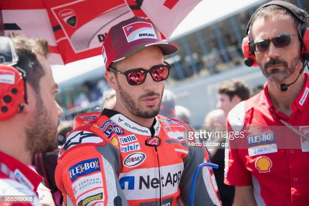 Andrea Dovizioso of Italy and Ducati Team prepares to start on the grid during the MotoGp race during the MotoGp of Spain Race at Circuito de Jerez...