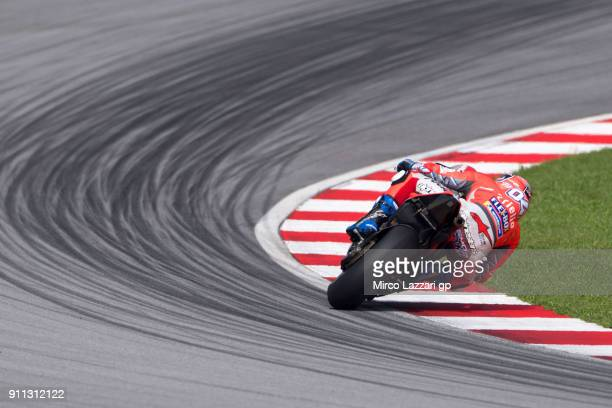 Andrea Dovizioso of Italy and Ducati Team rides during the MotoGP testing at Sepang Circuit on January 28 2018 in Kuala Lumpur Malaysia