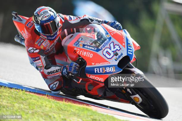 Andrea Dovizioso of Italy and Ducati Team rounds the bend during the MotoGp of Czech Republic Free Practice at Brno Circuit on August 3 2018 in Brno...