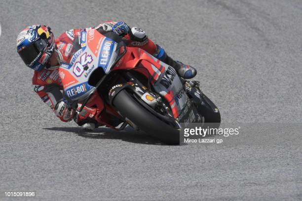 Andrea Dovizioso of Italy and Ducati Team rounds the bend during the MotoGp of Austria Qualifying at Red Bull Ring on August 11 2018 in Spielberg...