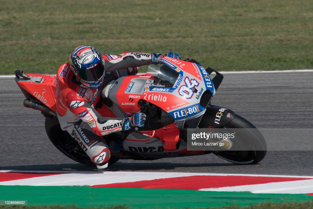 Andrea Dovizioso of Italy and Ducati Team rounds the bend during the MotoGP of San Marino - Free Practice at Misano World Circuit on September 7, 2018 in Misano Adriatico, Italy.
