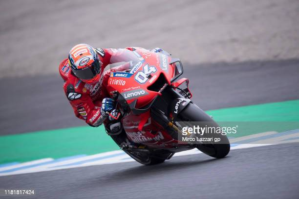 Andrea Dovizioso of Italy and Ducati Team rounds the bend during the MotoGP of Japan - Free Practice at Twin Ring Motegi on October 18, 2019 in...