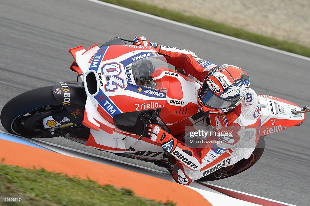 Andrea Dovizioso of Italy and Ducati Team rounds the bend during the MotoGp of Czech Republic - Free Practice at Brno Circuit on August 19, 2016 in Brno, Czech Republic.