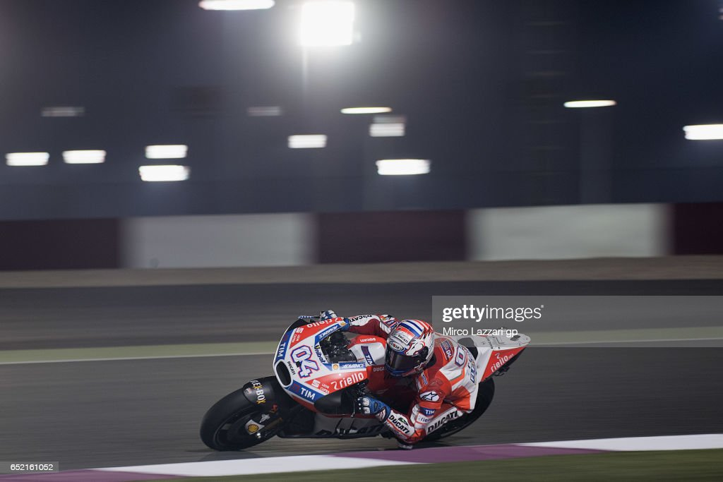 Andrea Dovizioso of Italy and Ducati Team rounds the bend during the MotoGP Tests In Losail at Losail Circuit on March 11, 2017 in Doha, Qatar.
