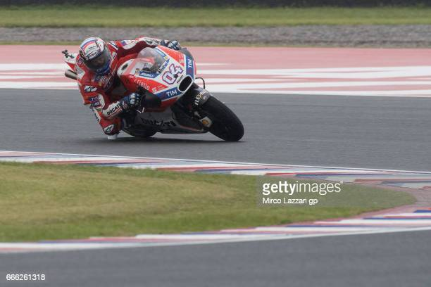 Andrea Dovizioso of Italy and Ducati Team rounds the bend during the MotoGp of Argentina Qualifying on April 8 2017 in Rio Hondo Argentina