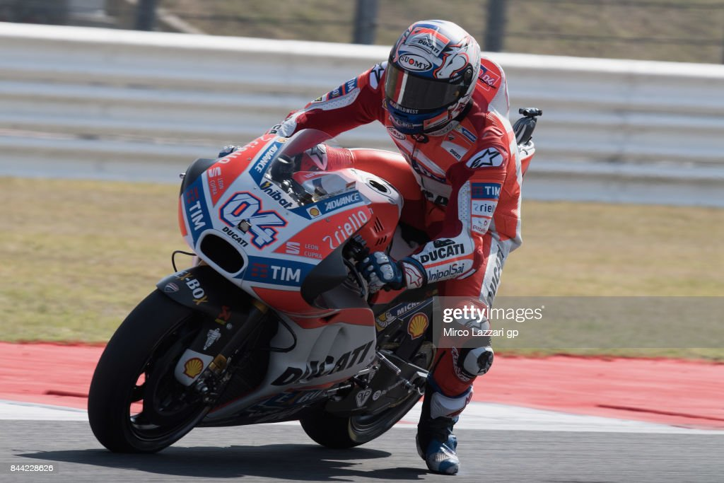Andrea Dovizioso of Italy and Ducati Team rounds the bend during the MotoGP of San Marino - Free Practice at Misano World Circuit on September 8, 2017 in Misano Adriatico, Italy.