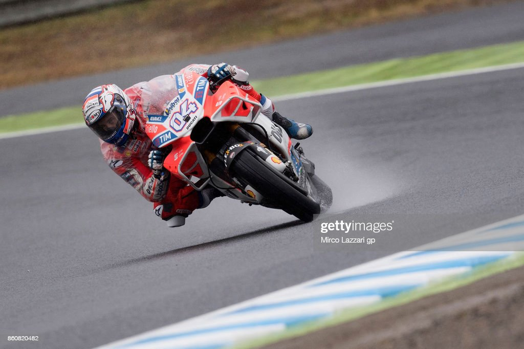 Andrea Dovizioso of Italy and Ducati Team rounds the bend during the MotoGP of Japan - Free Practice at Twin Ring Motegi on October 13, 2017 in Motegi, Japan.
