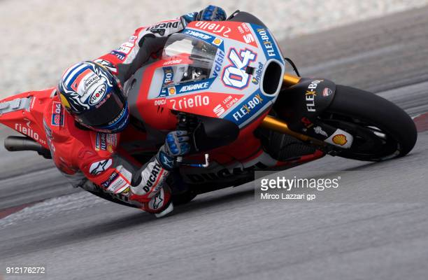 Andrea Dovizioso of Italy and Ducati Team rounds the bend during the MotoGP test in Sepang at Sepang Circuit on January 30 2018 in Kuala Lumpur...