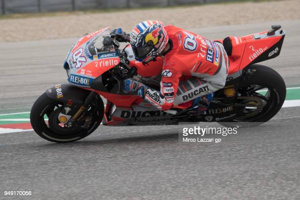 Andrea Dovizioso of Italy and Ducati Team rounds the bend during the MotoGp Red Bull US Grand Prix of The Americas Free Practice at Circuit of The...