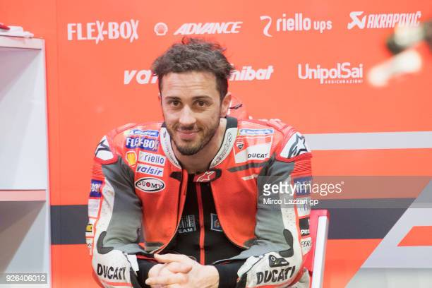 Andrea Dovizioso of Italy and Ducati Team smiles in box during the Moto GP Testing Qatar at Losail Circuit on March 2 2018 in Doha Qatar