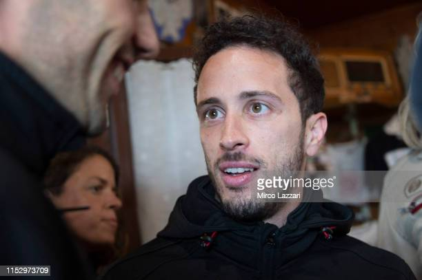 Andrea Dovizioso of Italy and Ducati Team smiles in restaurant Passo della Futa during the MotoGp of Italy Filming Day at Mugello Circuit on May 29...