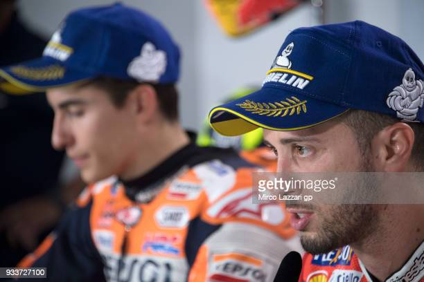 Andrea Dovizioso of Italy and Ducati Team speaks during the press conference at the end of the MotoGP race during the MotoGP of Qatar Race at Losail...