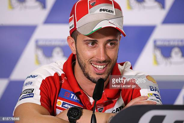 Andrea Dovizioso of Italy and Ducati Team speaks during the press conference preevent during previews ahead of the 2016 MotoGP of Australia at...