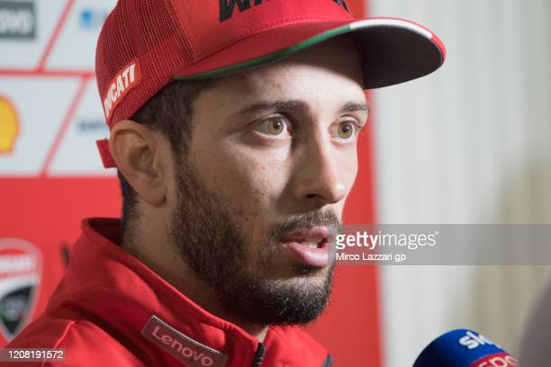 Andrea Dovizioso of Italy and Ducati Team speaks with journalists during the MotoGP Tests at Losail Circuit on February 23 2020 in Doha Qatar
