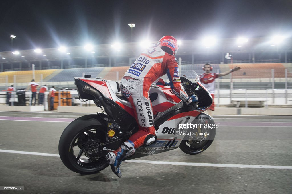 Andrea Dovizioso of Italy and Ducati Team starts from box during the MotoGP Tests In Losail at Losail Circuit on March 12, 2017 in Doha, Qatar.