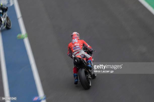 Andrea Dovizioso of Italy and Ducati Team starts from box during the MotoGp of Argentina Free Practice on April 6 2018 in Rio Hondo Argentina