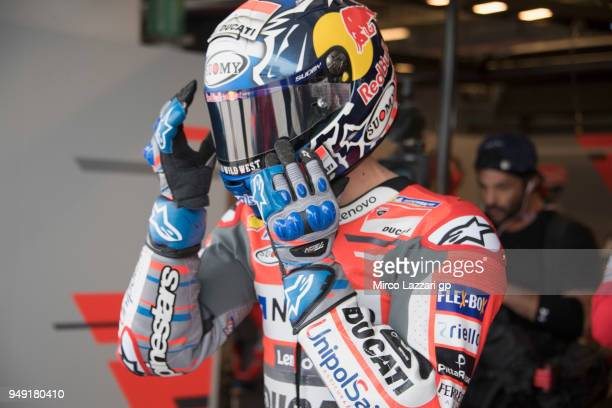 Andrea Dovizioso of Italy and Ducati Team starts from box during the MotoGp Red Bull US Grand Prix of The Americas Free Practice at Circuit of The...