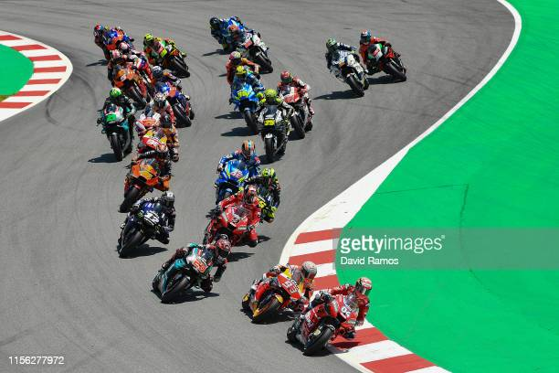 Andrea Dovizioso of Italy and Mission Winnow Ducati leads the pack during the MotoGP race during the MotoGP Gran Premi Monster Energy de Catalunya at...
