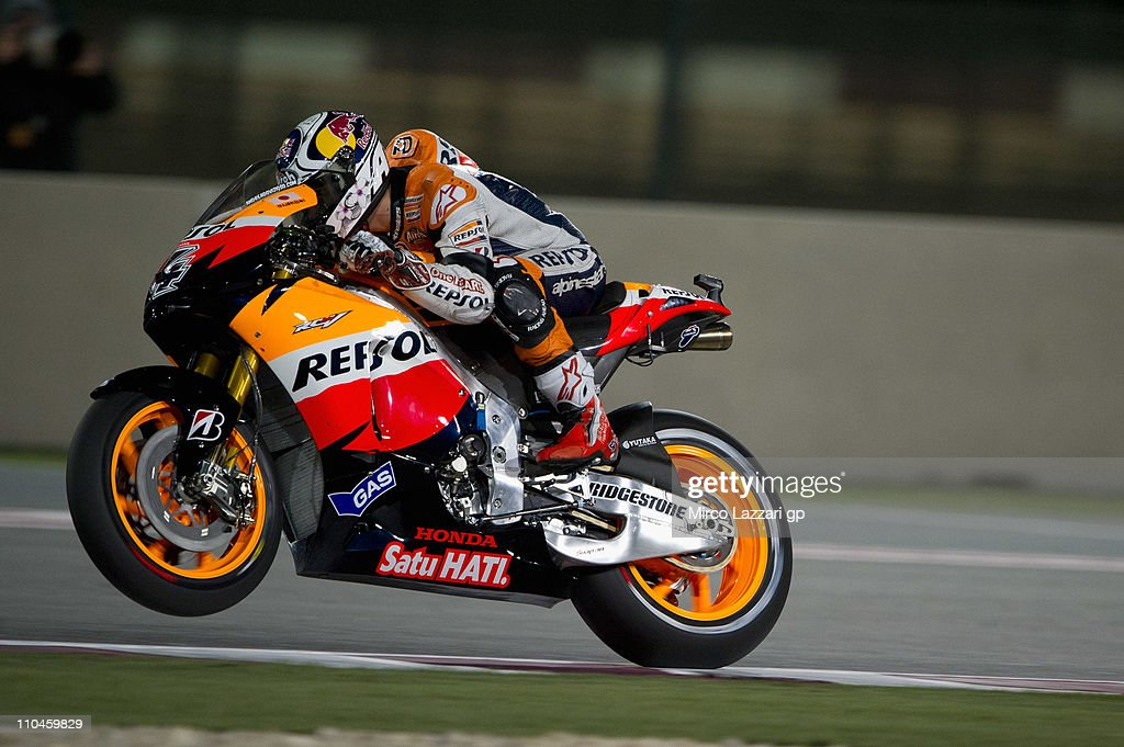 Andrea Dovizioso of Italy and Repsol Honda Team heads down a straight during the free practice of Doha GP at Losail Circuit on March 18, 2011 in Doha, Qatar.