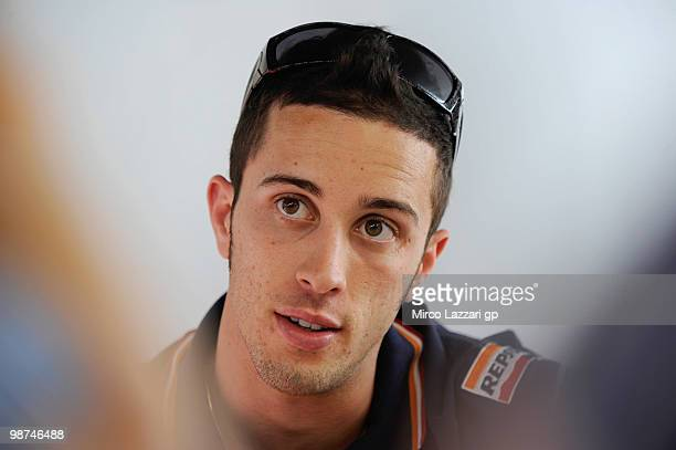 Andrea Dovizioso of Italy and Repsol Honda Team looks on during an interview in Honda Hopsitality at Circuito de Jerez on April 29 2010 in Jerez de...