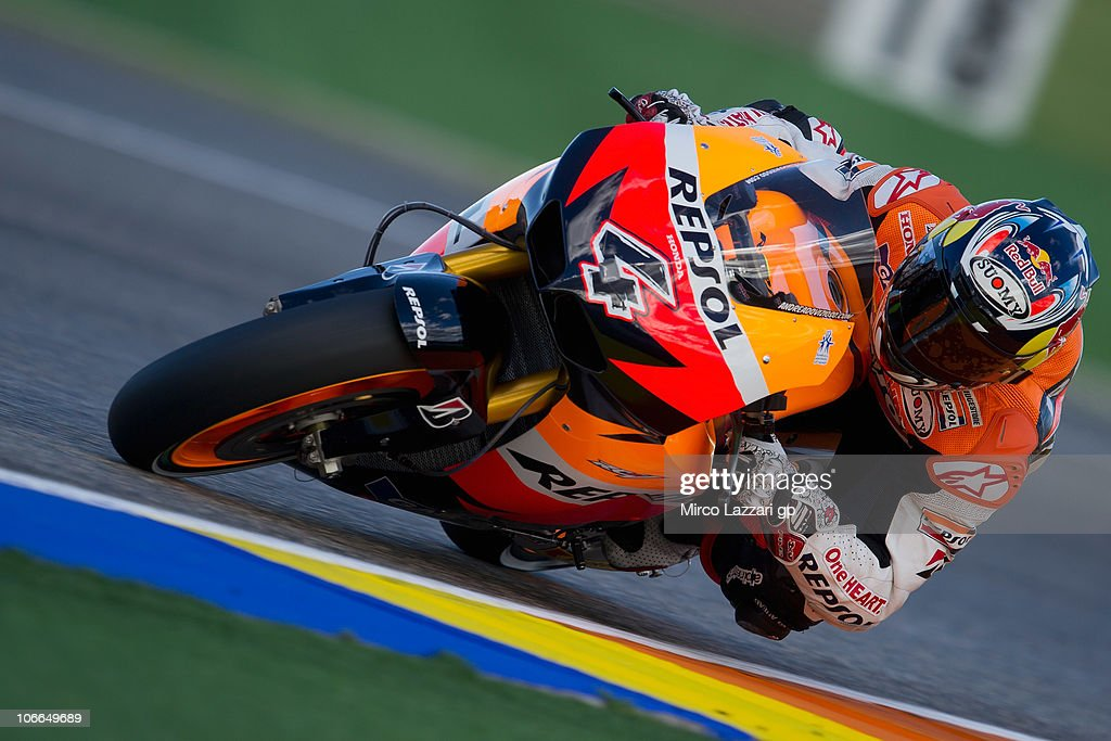 Andrea Dovizioso of Italy and Repsol Honda Team rounds the bend during the first test of 2011 season at Ricardo Tormo Circuit on November 9, 2010 in Valencia, Spain.