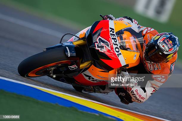 Andrea Dovizioso of Italy and Repsol Honda Team rounds the bend during the first test of 2011 season at Ricardo Tormo Circuit on November 9 2010 in...