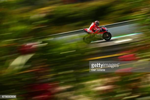 Andrea Dovizioso of Italy and the Ducati Team rides during final practice for the MotoGP of Spain at Circuito de Jerez on May 6 2017 in Jerez de la...
